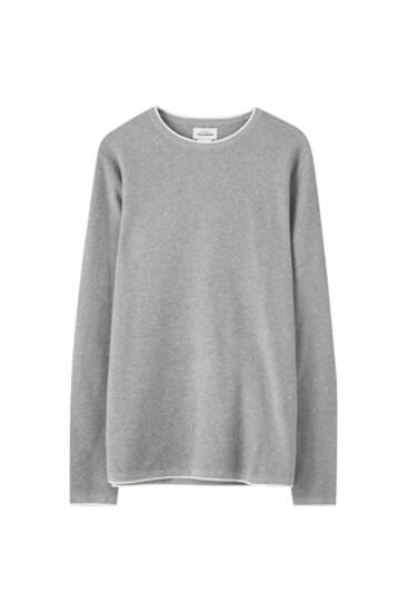 Basic sweater with contrast trims