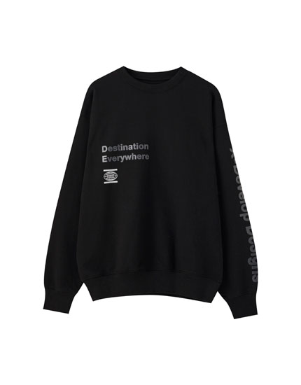 Siyah 'Destination Everywhere' yazılı sweatshirt