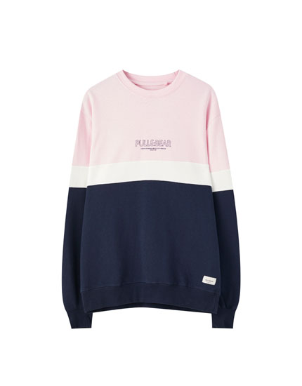 Basic-Sweatshirt mit Colour-Blocks und Logo