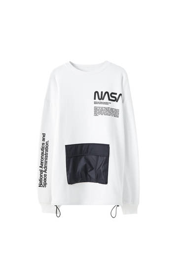 Nasa Sweatshirt With Pouch Pocket Pull Bear