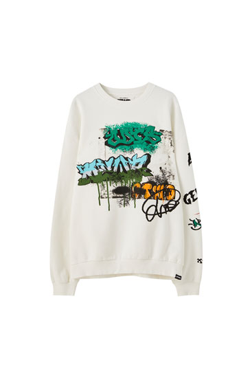 White sweatshirt with contrast graffiti print