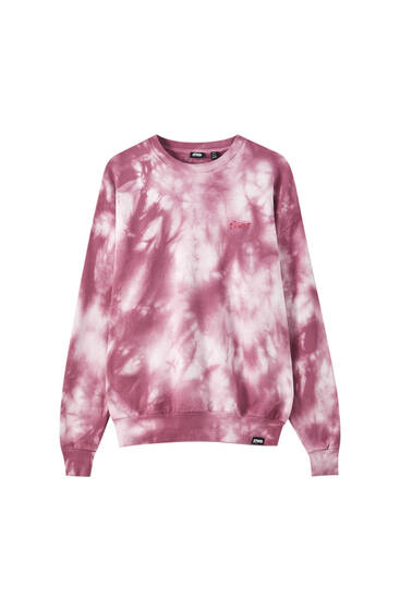 Pink tie-dye sweatshirt with logo