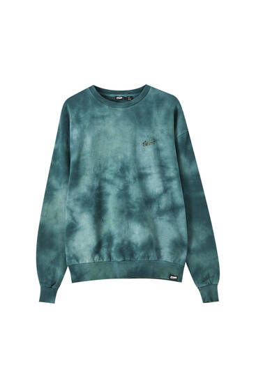 Green tie-dye sweatshirt with logo