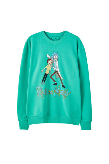 Grøn Rick og Morty-sweatshirt