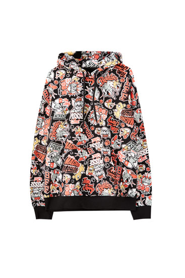 Sudadera Tom & Jerry negra print