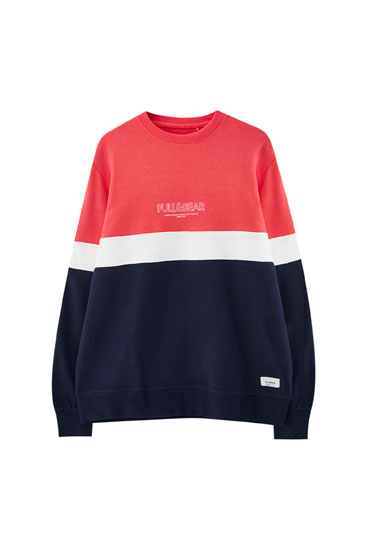 Sweat color block avec logo