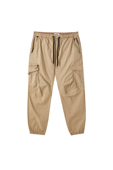 Ripstop cargo trousers with elastic waistband