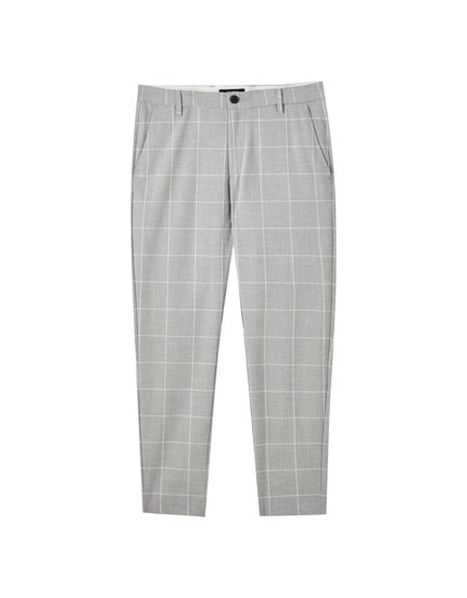 Pantaloni tailored fit grigi con stampa