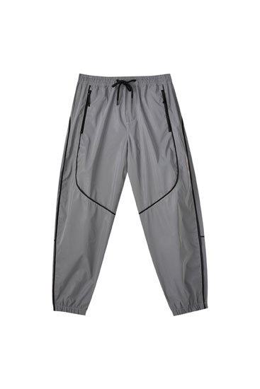 Reflective jogging trousers with contrast trims