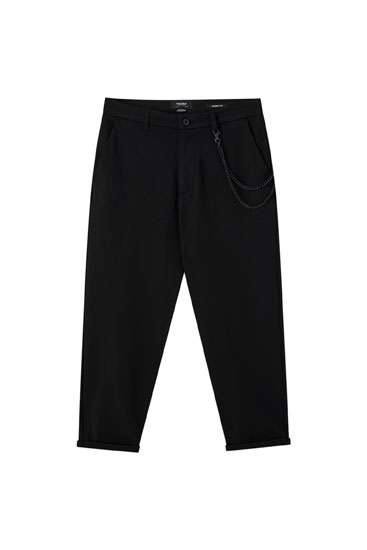 Tailored darted trousers with chain detail