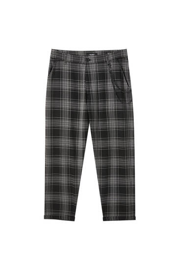 Grey check tailored trousers with chain