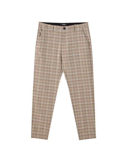 Pantaloni tailored fit a quadri marroni
