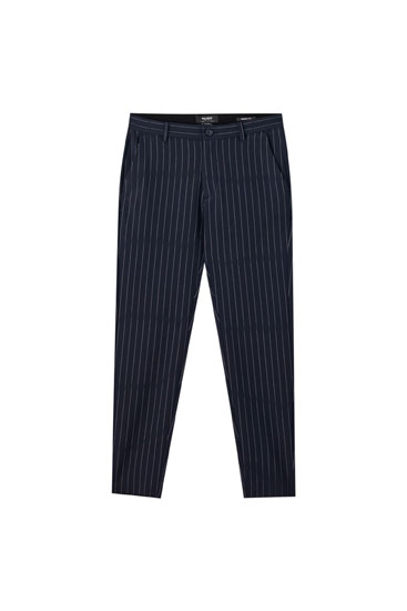 Pantaloni tailored fit blu a righe a contrasto