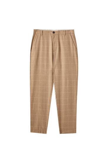 Brown check print tailored trousers