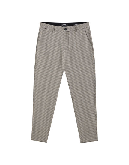 Grey check print tailored beach trousers