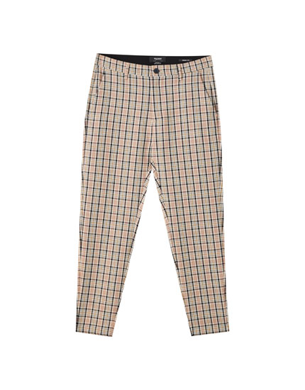 Multicoloured check print tailored trousers