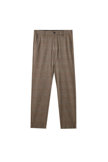 Contrast brown check print tailored trousers