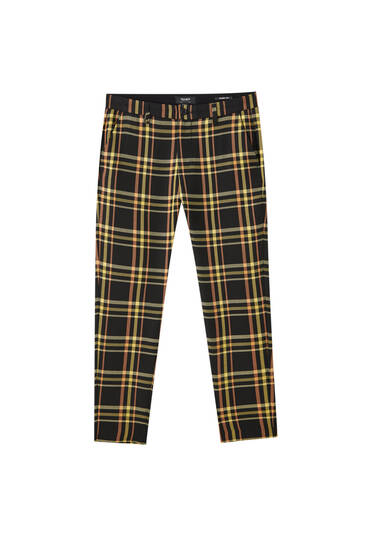 Black check print tailored trousers