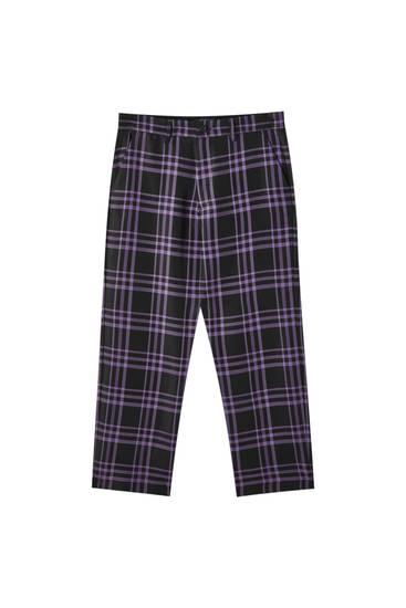 Calças tailored fit aos quadrados violeta