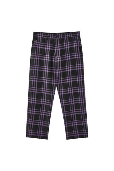 Violet check tailored trousers