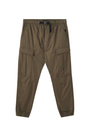 Khaki utility cargo trousers