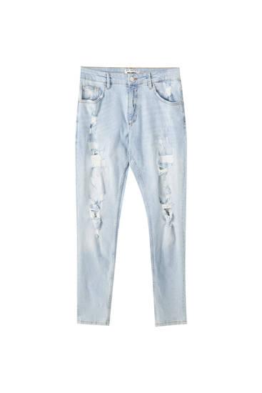 Skinny fit jeans med huller