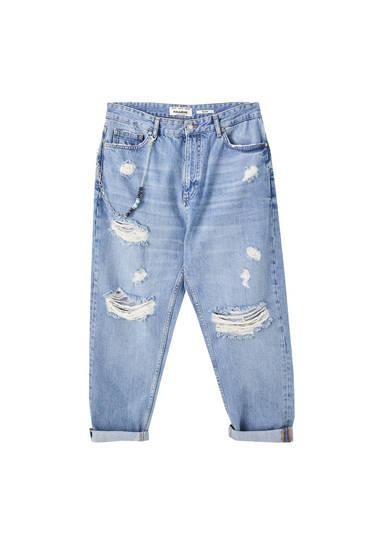 Τζιν παντελόνι relaxed fit premium με αλυσίδα