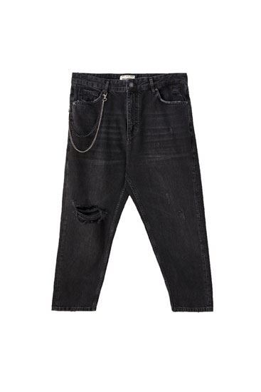 Premium relaxed fit jeans with chain