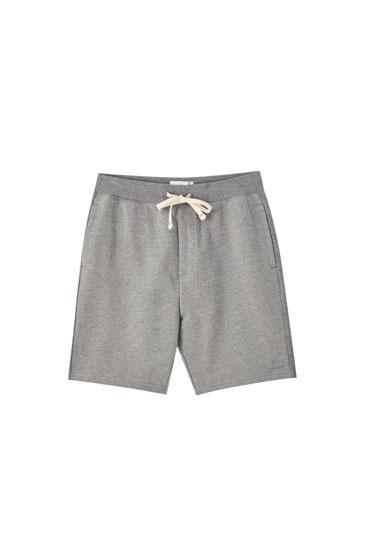 Basic cotton jogging Bermuda shorts