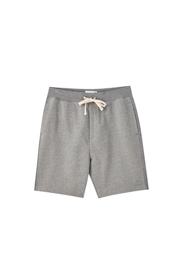 Basic cotton jogging Bermuda shorts