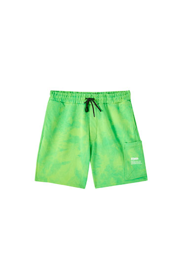 Green tie-dye jogging Bermuda shorts
