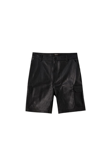 Black leather cargo Bermuda shorts