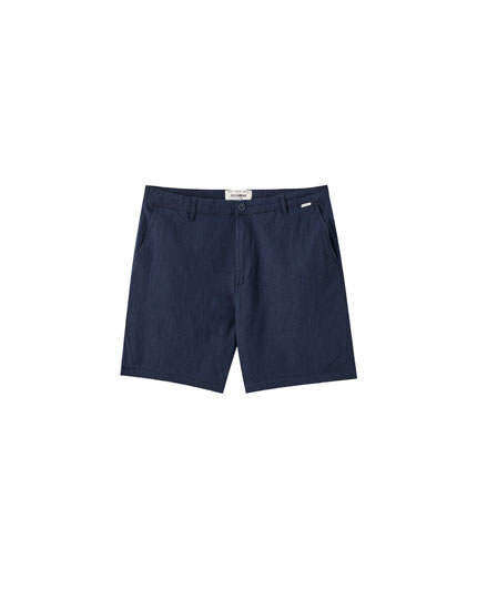Dark blue linen Bermuda shorts