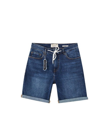 Skinny-fit blue denim Bermuda shorts