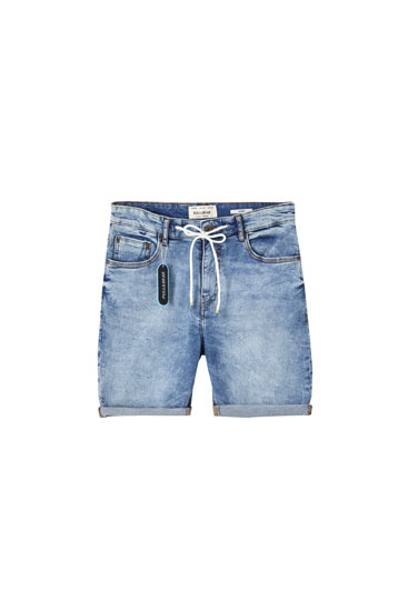 Blue skinny fit denim Bermuda shorts