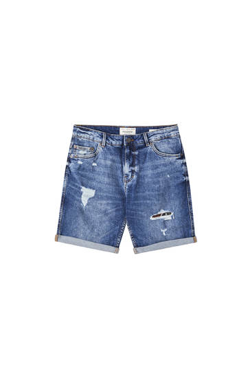 Blue slim fit denim Bermuda shorts