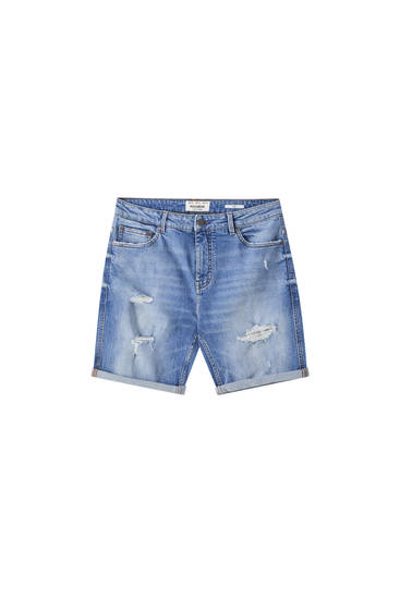 Slim-fit medium-blue denim Bermuda shorts