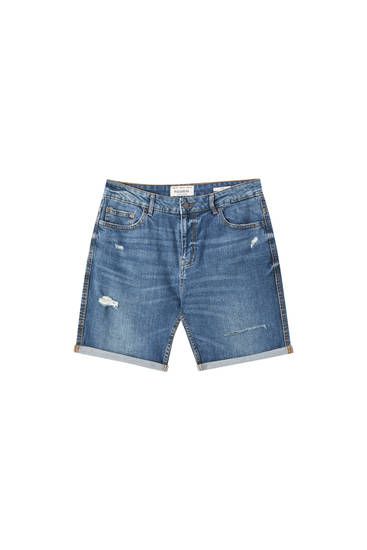 Grønblå slim fit shorts i denim