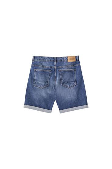 Slim fit denim Bermuda shorts with wallet