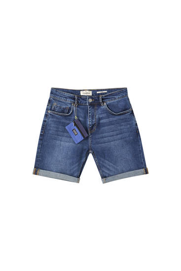 Denim Bermuda shorts with wallet charm