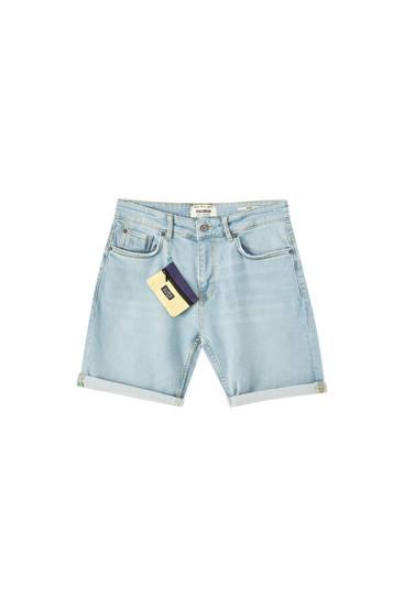 Denim Bermuda shorts with wallet charm