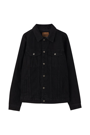 Black comfort fit denim jacket