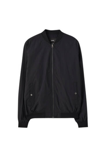 Textured bomber jacket with snap pockets