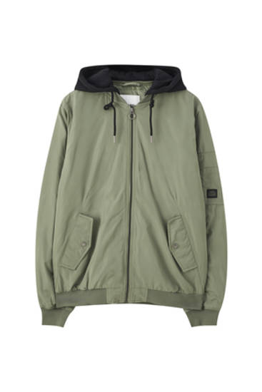 Bomber jacket with contrasting hood