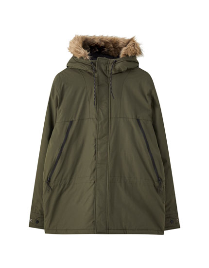 Jacket with pockets and faux fur hood