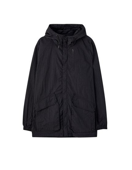 Lightweight nylon parka with pockets
