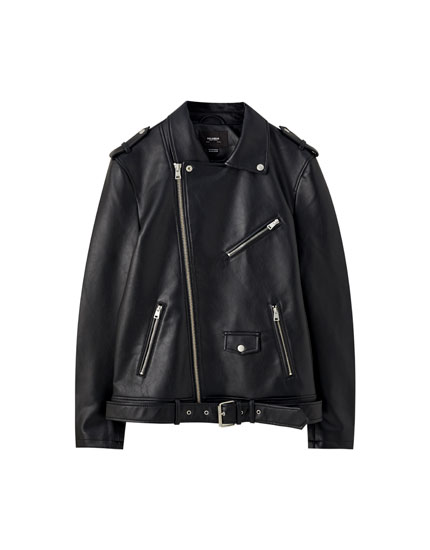 Belted faux leather biker jacket