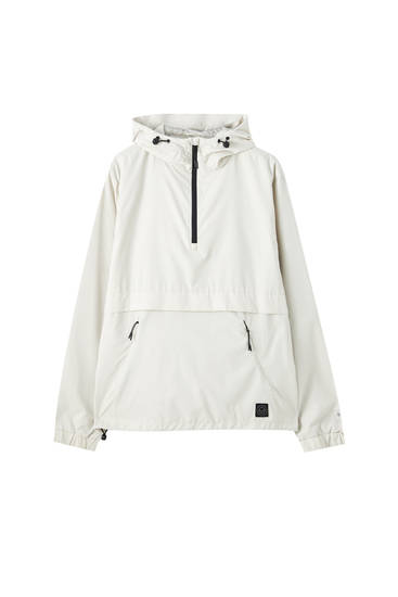 Water-repellent packable anorak jacket