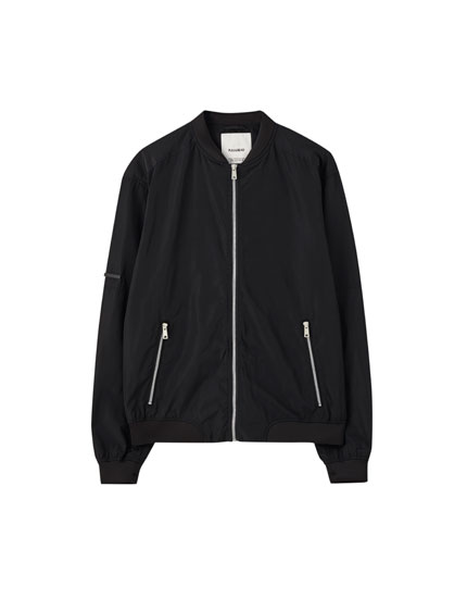 Nylon bomber jacket with detailing
