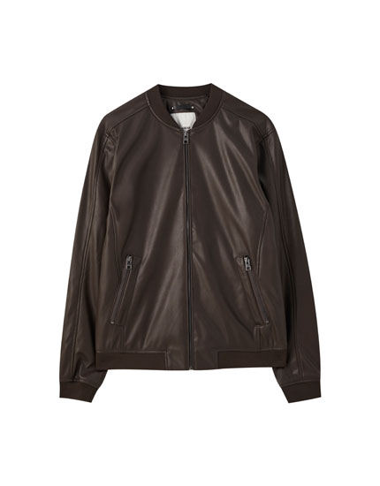 Faux leather basic bomber jacket
